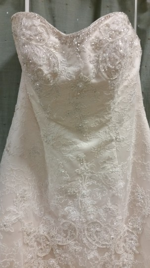 Casablanca Champagne/Ivory Beaded Lace Over Silky Satin 1827 Feminine Wedding Dress Size 12 (L)