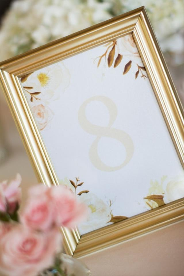 Gold Blush Ivory Table Numbers Including Frame - - Tradesy