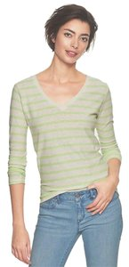 Gap Striped Essential Tee V-neck Relaxed Fit Spring T Shirt Green
