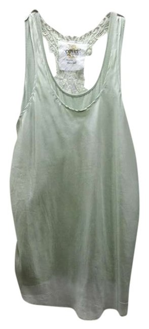 Covet Sleeveless Lace Embroidered Embellished Flowy Top Green