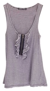 Living Doll Striped Zipper Goth A-line Top Black And White