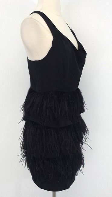 Madison Marcus Black Tiered Feathered Dress