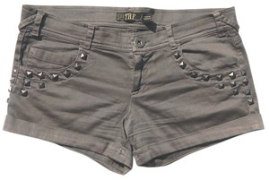Zara Studded Cuffed Shorts Gray