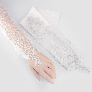 White Elegant Fingerless Satin Floral Pearl Accent Evening Gloves
