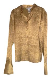Allison Taylor Bell Sleeves Button Down Top Gold Tone