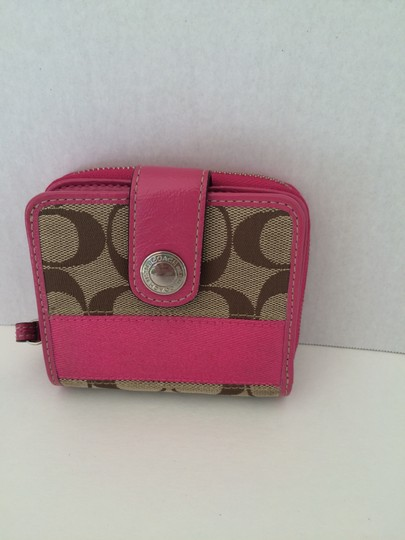 Coach SIGNATURE C MEDIUM SNAP ZIP AROUND PINK