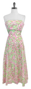 Lilly Pulitzer short dress Pink & Green Print Cotton Strapless on Tradesy