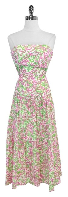 Preload https://item2.tradesy.com/images/lilly-pulitzer-pink-and-green-print-cotton-strapless-mid-length-short-casual-dress-size-2-xs-3500746-0-0.jpg?width=400&height=650