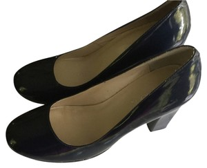 JG Hook Vegan Pleather Patent Shiny Navy Prep Preppy Chunk Square-heeled Rounded Toe Chunky Navy blue Pumps