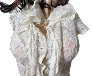 Cream Maxi Dress by Vintage Havana See Through Lace Stretch Super Sexy Longer Lengh Very Sexy Lace Maxi Sheer Fitted