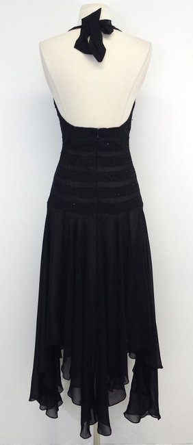 BCBGMAXAZRIA short dress Black Lace Silk Halter on Tradesy