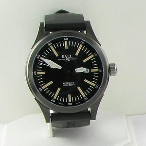 Ball Ball Nm2092c-p-bk Fireman Night Train Dlc Black Dial Auto Watch Rubber