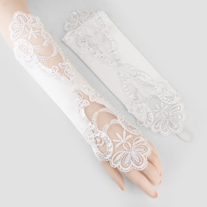 White Elegant Fingerless Floral Motif Satin Pearl Accent Evening Formal Gloves