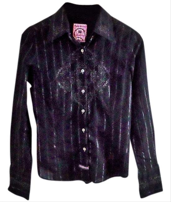 English Laundry Black Western Embroidered Cotton Button