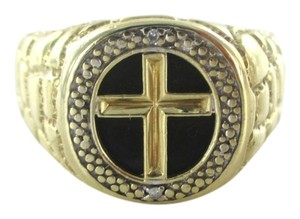 Other 10KT SOLID YELLOW GOLD MEN RING SZ 11 CROSS 5.4 GRAMS BLACK STONE HALLMARK JEWEL