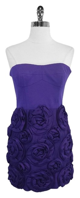 Cynthia Steffe short dress Purple Rosette Strapless on Tradesy