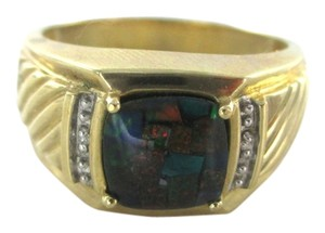 Other 10KT SOLID YELLOW GOLD MEN RING SZ 11 COLOR STONE 5.1 GRAMS 2 DIAMONDS .2 CARAT