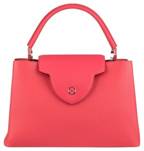 Louis Vuitton Lv Capucines Classic Luxury Elegance Leather Pink Brown Tote in Litchi (pink)