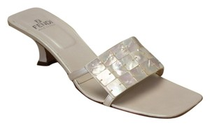 Fendi Mother Of Pearl Leather Ivory Sandals