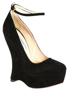 Prada Suede Mary Jane Wedge Classic Black Wedges