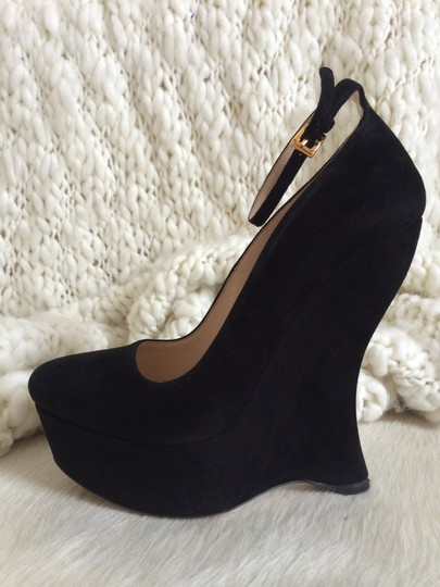 Prada Suede Mary Jane Classic Italian Pump Round Toe Black Wedges
