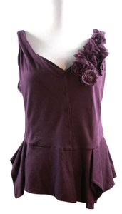 Anthropologie Sleeveless Floral Mock Corsage Grape Medium Cotton Blend V Neck Low Cut New With Tags Top purple