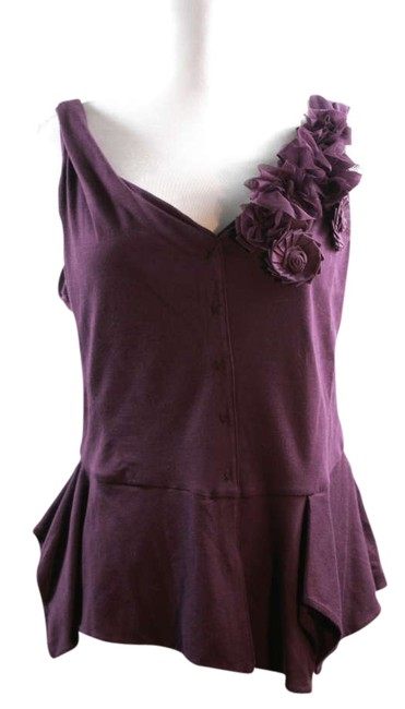 Item - Sleeveless with Floral Detail On Shoulder Purple Top