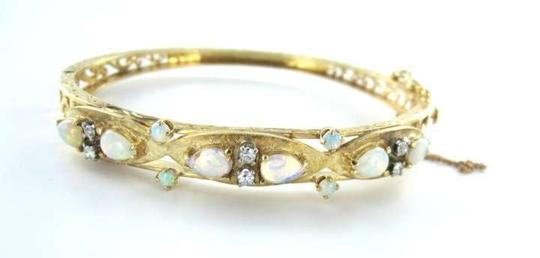 Preload https://img-static.tradesy.com/item/350381/14kt-yellow-gold-bracelet-bangle-opal-6-diamond-antique-115dwt-md-jewel-0-0-540-540.jpg