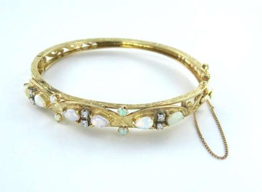 Vintage 14KT YELLOW GOLD BRACELET BANGLE OPAL 6 DIAMOND VINTAGE ANTIQUE 11.5DWT MD JEWEL