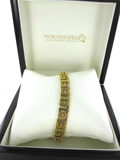 Vintage 18KT YELLOW GOLD GREEK KEY LINK BRACELET G LETTER DESIGNER CELEBRITY FINE JEWEL