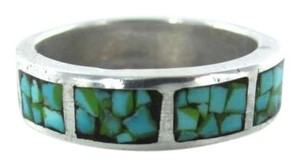 Vintage STERLING SILVER RING MOSAIC BLUE STONES SZ 7.5 MODERN DESIGN 3.1DWT JEWELRY