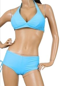 Marina West Marina West Blue Boyshort Halter Bathing Suit