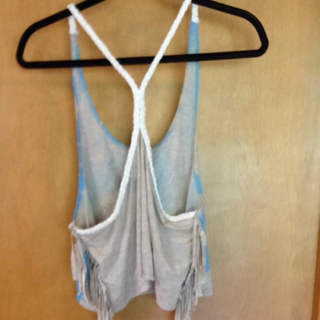 Forever 21 Top Taupe, Blue, Cream