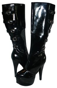 Platform Stiletto Faux Patent Black Platforms