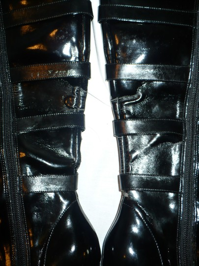 Other Stiletto Faux Patent Buckle Goth Black Platforms