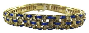 Morningstars 14K YELLOW GOLD BRACELET BASKET WEAVE ROYAL BLUE ENAMEL ITALY ITALIAN BREV 37.2G