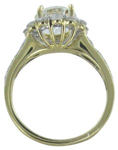 Vintage 18KT YELLOW GOLD 1 DIAMOND CENTER 1.66CT 20 DIAMONDS RING W/ GIA CERT SZ 6.5