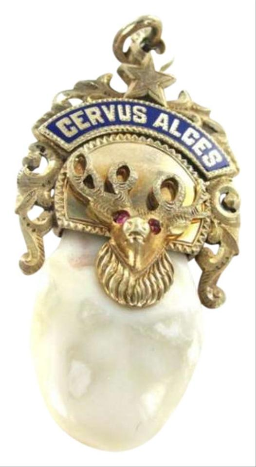 Yellow gold 14kt pendant elk tooth moose cervus alce fraternity club other 14kt yellow gold pendant elk tooth moose cervus alce fraternity club watch star aloadofball Images