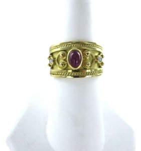 Vintage 18K YELLOW GOLD RUBY CABACHON CLUSTER RING 2 DIAMOND SZ 7 ARABESC 7.3DWT ROMAN