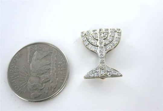 Vintage 18KT WHITE GOLD MENORAH PIN BROOCH DIAMOND RELIGIOUS JEWISH VINTAGE ISRAEL JEWEL
