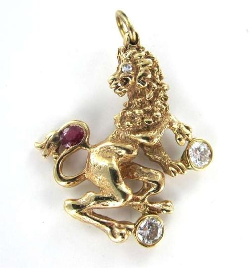 Vintage 14K GOLD PENDANT LION OF JUDAH DIAMOND RUBY HERALDIC ROYAL SYMBOL HERALDRY BEAST