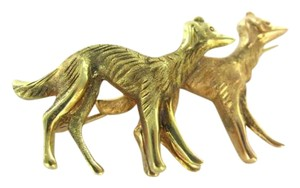 vintage 18K YELLOW GOLD PIN BROOCH 2 DOG AFGAN COUPLE HOUND HUNTING ANIMAL PAIR VINTAGE