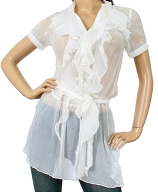 Sweet Candy Sweet Candy Vertical Ruffle Sheer Tunic Cover Up