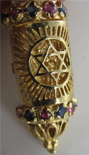 Vintage 14KT YELLOW GOLD MEZUZAH PENDANT STAR DAVID TORAH SACRED PROTECTION RELIGIOUS