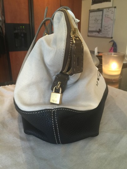 Fendi Selleria Tote in NUDE CANVAS BLACK & TAUPE LEATHER TRIMMING