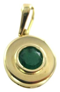 Vintage 18KT YELLOW GOLD PENDANT COLOMBIAN EMERALD 1CT ROUND 2.3GRAMS FINE JEWELRY JEWEL