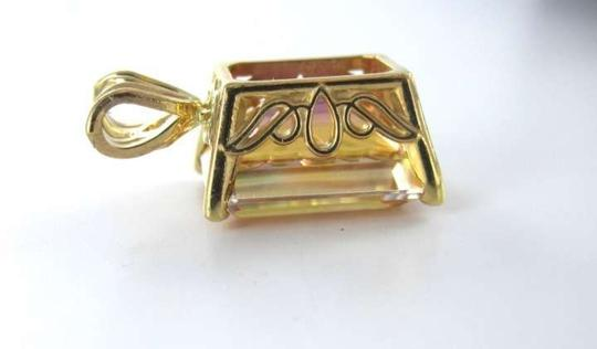Vintage 14KT YELLOW GOLD PENDANT CHARM MULTICOLOR TOPAZ 2.3DWT BIRTHSTONE JEWELRY JEWEL