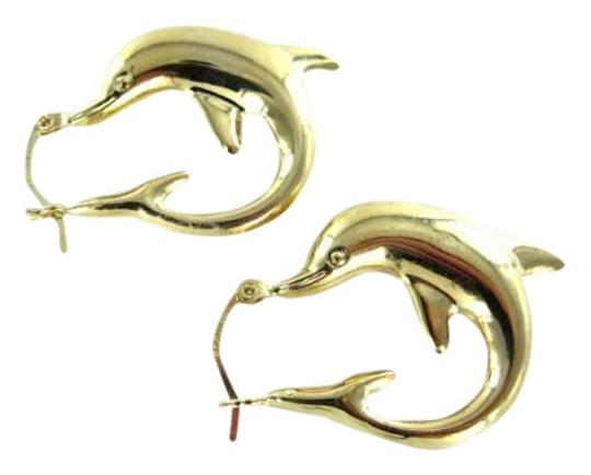 Vintage 14KT YELLOW GOLD EARRINGS DOLPHIN DOLPHINS HOOP 2.6 GRAMS 23MM RCI CIRCULAR