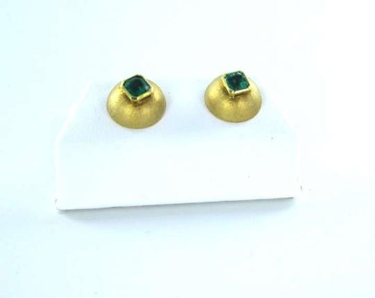 vintage Mouse over image to zoom 18KT YELLOW GOLD EARRINGS NATURAL COLOMBIA EMERALD 3.6DWT SATIN FINE JEWELRY