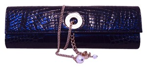Chanel Alligator Crocodile Alligator Black Clutch